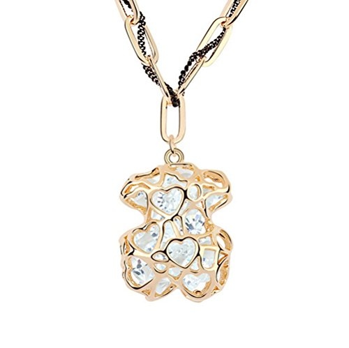 Winter's Secret Vintage Hollow Bear Gold Plated Shining White Zircon Accented Cahrming Pendant Necklace