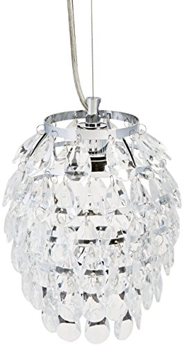 LightMakers ODYLIA Glass Crystal Hanging Lamp with Chrome, 7d x 25h'