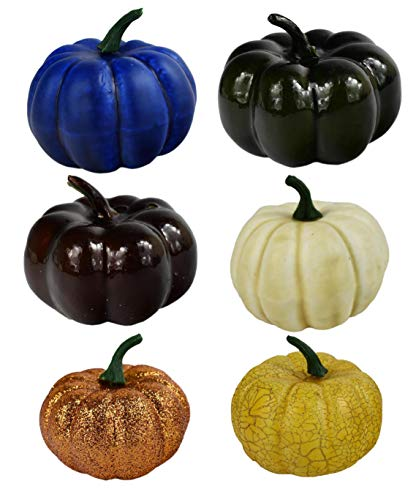 Black Duck Brand Set of 6 Fall Harvest Artificial Pumpkins (3.5 Inch) in Assorted Colors!
