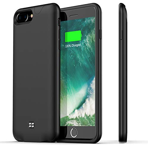 - Battery Case for iPhone 7 Plus/8 Plus,Support Headphone,Ugood 4200mAh Ultra Slim Portable Protective Charging Case Compatible with iPhone 8 Plus/7 Plus Rechargeable Extended Battery Charger Case-Black