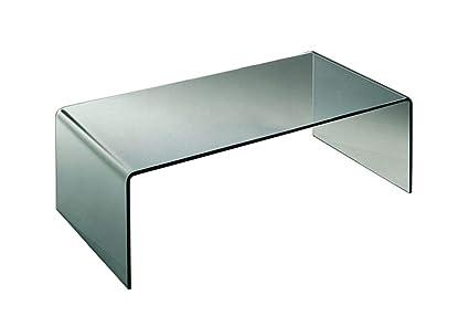 Qriosa Stile Italiano Mod. Ponte - tavolino basso in vetro curvo