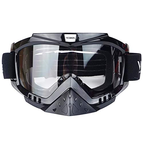 VCOROS Motocross Goggles Clear Len For Adult Offroad Dirtbike 100 ATV Riding Goggles (Clear Lens)