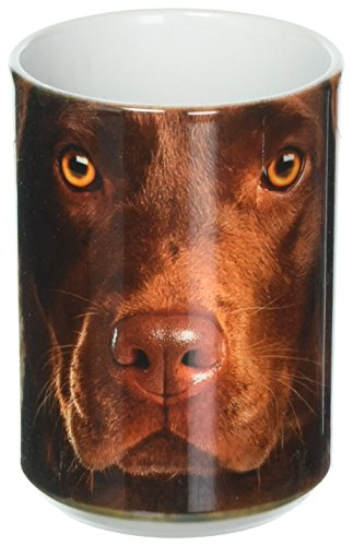 The Mountain 57355009011 Chocolate Lab Face Coffee Mug, 15 oz, White
