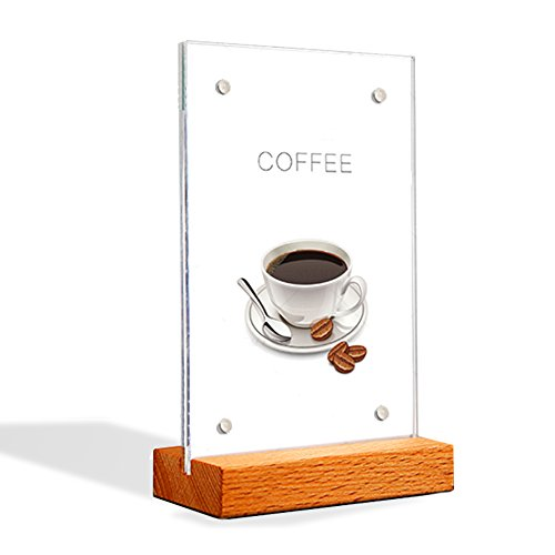 "Acrylic magnetic Sign Holder with wood bottom for Double Sided Extra Thick Durable Quality Photo Menu Ad Display (5.88.3"")"
