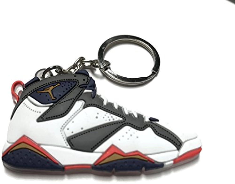 Air Jordan 7 Retro 7 Jordan White Gray Blue Red Shoe Keychain Collectable c9c0f3