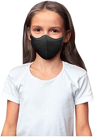 Bloch unisex kid Soft Stretch Reusable (Pack of three), Black, Kids Face Mask, Black, Kids US
