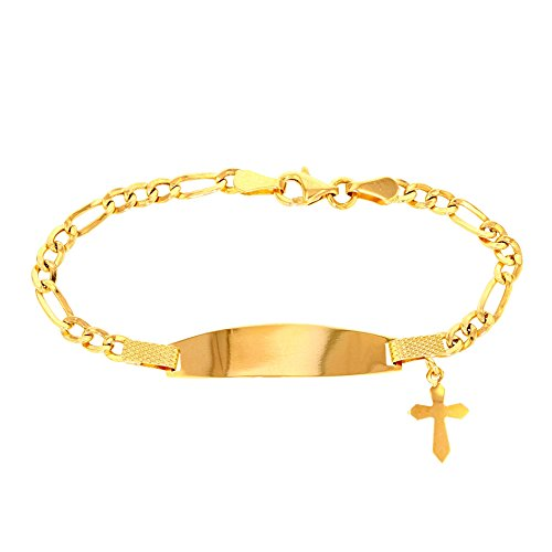 (Solid 14k Yellow Gold Baby ID Bracelet with Religious Cross, 6.5