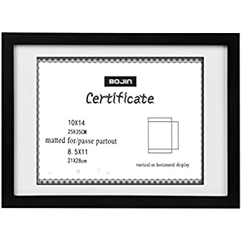 BOJIN 10x14 Wood Picture Frame, Document Frame Made For Sized 8.5x11 Diploma with Mat, 10x14 Picture Without Mat- Black Certificates Frame