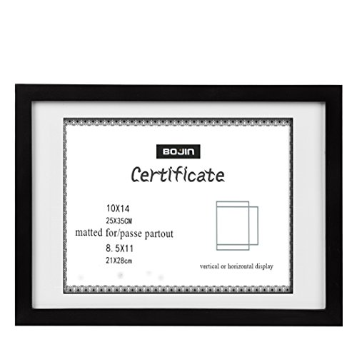 (BOJIN 10x14 Wood Picture Frame, Document Frame Made for Sized 8.5x11 Diploma with Mat, 10x14 Picture Without Mat- Black Certificates Frame)