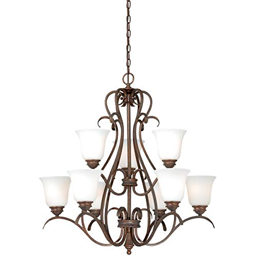 Chandeliers 9 Light Fixtures with Weathered Patina Finish Steel Material Medium 30