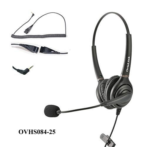 (OvisLink Dual Ear 2.5mm Call Center Headset for Cisco SPA Series, Polycom SoundPoint IP 321/331 and Pro SE-220/225)