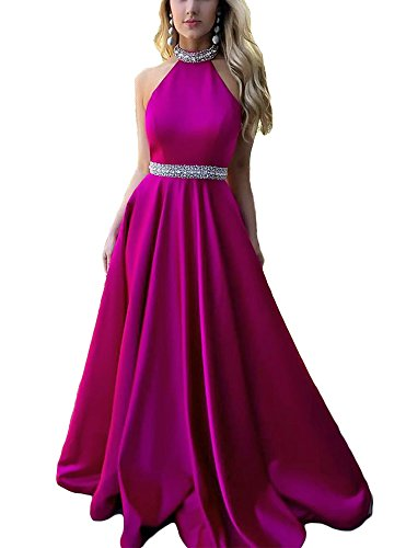 Long Women's Prom DreHouse Party Purple Backless Hater A Gowns Beaded Line Dresses 8BdZwB