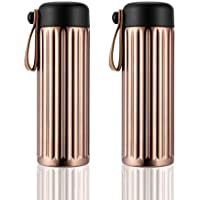 400ml Insulated Stainless Steel Water Bottle Thermos Flask With Leather Strap