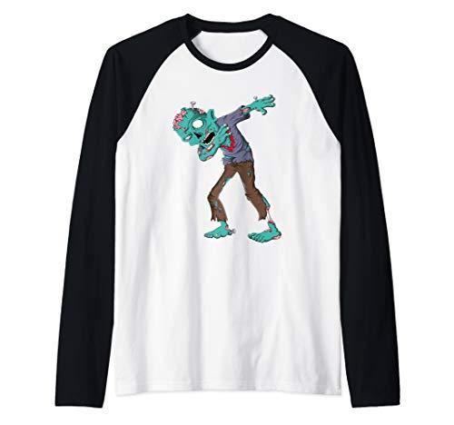 Dabbing Zombie Halloween T shirt Boys Kids Dab Funny Zombies Raglan Baseball Tee]()