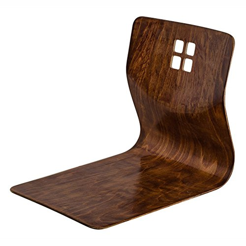 Japanese Style Floor Chair Legless Sitting Seat Hipack chairs Wood L Shape Holding Home Living Room (Cherry)