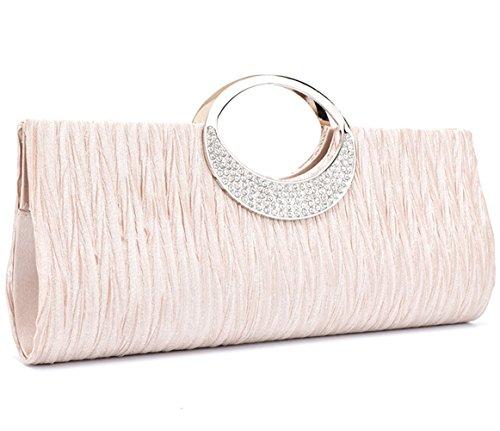 Story Pleated U Rhinestone Champagne Satin Party Wedding Evening Elegant Handbag Purse Clutch 1qwZXWywd