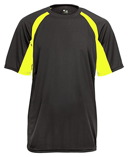 Men's two-tone moisture-wicking cool and dry sport hook tee. (Graphite / Safety Yellow) (2X-Large) by Badger