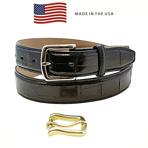 Size 44 Black Genuine Alligator Belt - American Factory Direct - Gold & Silver Buckle Included - 1 ¼ inch Wide - Made in USA by Real Leather Creations Tail FBA1241