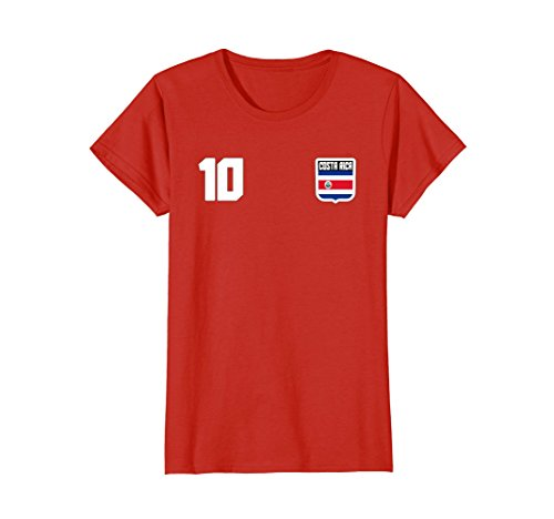 Womens COSTA RICA T-shirt Costa Rican Tee Retro Soccer Football Small Red
