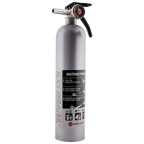 Rechargeable DHOME1 Designer Home Fire Extinguisher UL Rated 1-A:10-B:C (Pewter)
