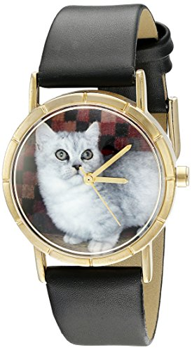 Whimsical Watches Kids' P0120047 Classic Munchkin Cat Black Leather And Goldtone Photo - Miniatures Munchkin