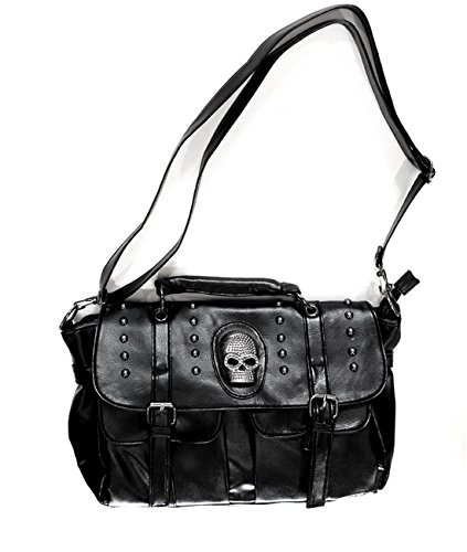 Bloodycat Women's Skull Buckle Leatherette Satchel One Size Black P0000gzh000b