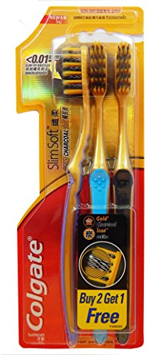 Colgate Gold Slim Soft Charcoal Toothbrush 0.01 mm, Compact Head (3 Bristles ) Family Pack By FBA