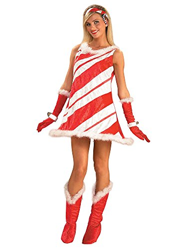 Forum Novelties Women's Miss Candy Cane Costume, Red/White, Standard (Candy Costume Adult)