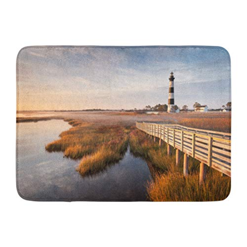 Emvency Doormats Bath Rugs Outdoor/Indoor Door Mat Coast North Carolina Outer Banks Bodie Island Lighthouse Autumn Morning Marsh Boardwalk Hatteras Bathroom Decor Rug Bath Mat 16