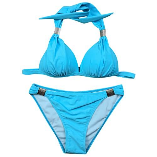 Close-dole Women's Fashion Sexy Split Two-Piece Solid Color Straps Hanging Neck Underwear Bikini Suit Beach Swimsuit Blue