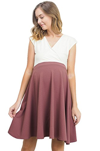 LaClef Women's Surplice Skater Nursing Friendly Maternity Dress (Medium, Ivory/Red Brown)