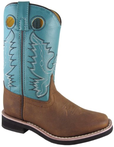 Distress Leather Western Boot (Smoky Mountain Boots Pueblo Brown Oiled Distress/ Turquoise Kids Western Boots (C10.5))