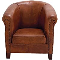 Deco 79 80876 Real Leather Captains Chair, 32 x 33