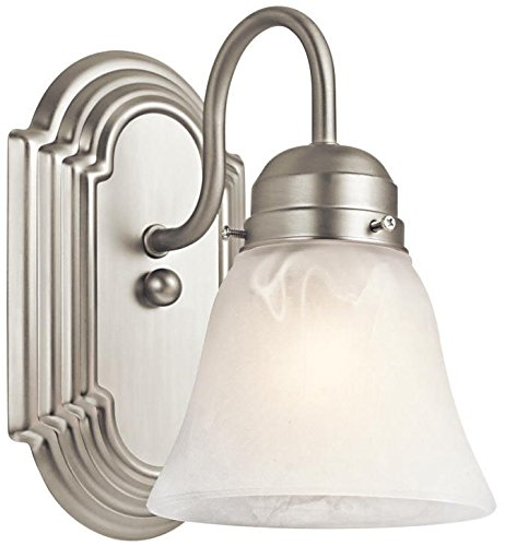 Kichler 5334NI, Bath and Vanity Reversible Glass Wall Sconce Light, 100 Watts, Brushed Nickel