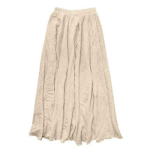 (Women Long Bohemian Skirt Elastic Cotton Linen Waist Band Hippie Beach Full Length Pleated Maxi Skirts Dress (Khaki, Medium))
