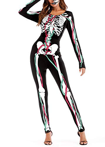 For G and PL Halloween Costume Women's Outfit Streth X-ray Catsuit Long Sleeve Bodycon Skeleton Jumpsuit Vessel L ()
