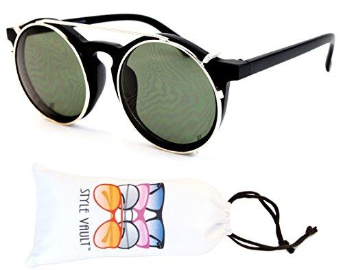 W84-VP Style Vault Round Clip-on Sunglasses (S1964V Mt - For On Sunglasses Glasses Round Clip