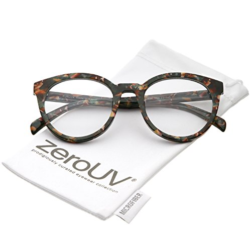 zeroUV - Women's Marble Printed Horn Rimmed Clear Lens Round Eyeglasses 50mm (Green Red Marble/Clear)