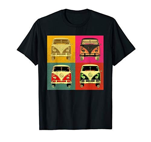 Womens Power Flower T-shirt - Vintage 1960s Hippie Micro Bus Van Pop Art Styled T-Shirt