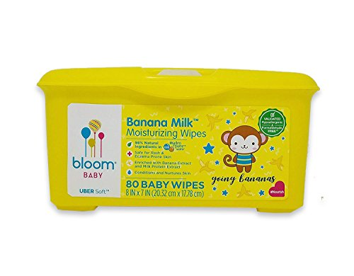 "Banana Milk Moisturizing Baby Wipes by bloom BABY | For Sensitive Skin | Formulated for Diaper Area | Infused with Plant-Derived Vitamins | Hypoallergenic | Textured & Thick 8""x7"" Wipes 
