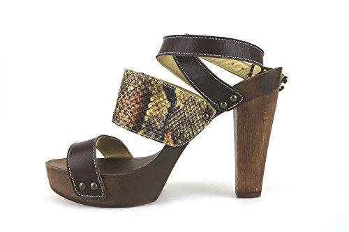 Zapatos mujer BRACCIALINI Sandalias marrón cuero Textil AH380