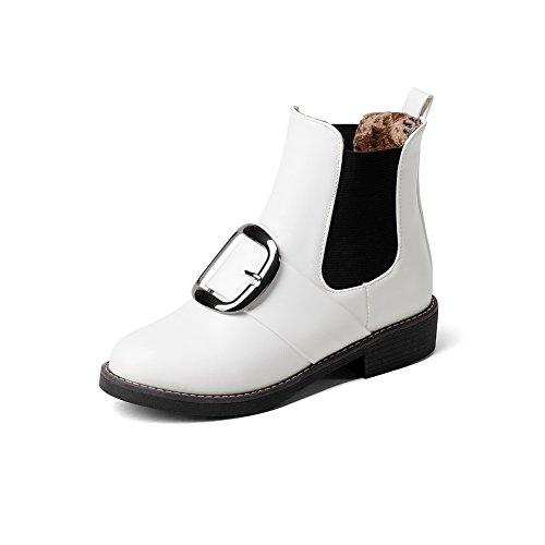 White Urethane Boots Boots Womens Closure Metal No ABL10502 BalaMasa Buckles zCwATxZzq