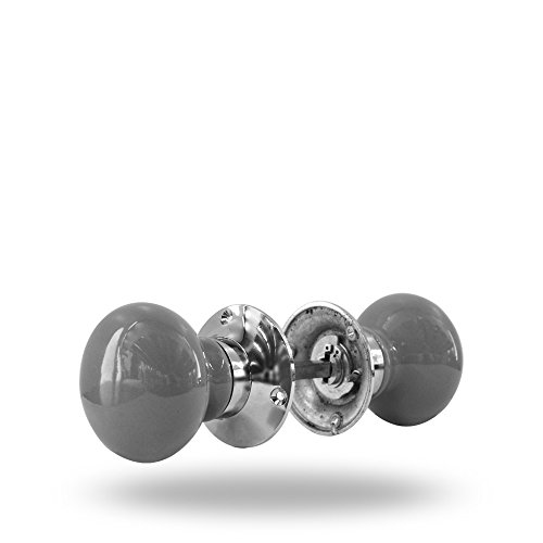Ceramic Cincinati Mortise Knob Set with Spindle Grey By Trinca Ferro by Trinca Ferro