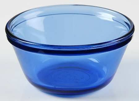 Cobalt Blue And White Glass large serving bowl