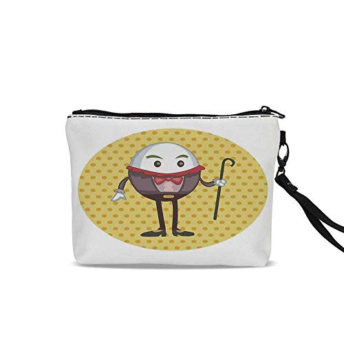 Alice in Wonderland Travel Toiletry Bag,Humpty Dumpty Egg Standing Dotted Background Cartoon Alice For Women Girl,9