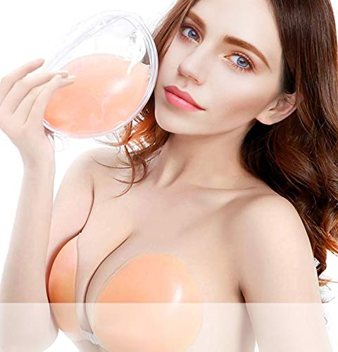 Adhesive Bra, Silicone Sticky Strapless Bra Reusable Invisible Push Up Bra (Natural Beige, B Cup- Double Thickness)