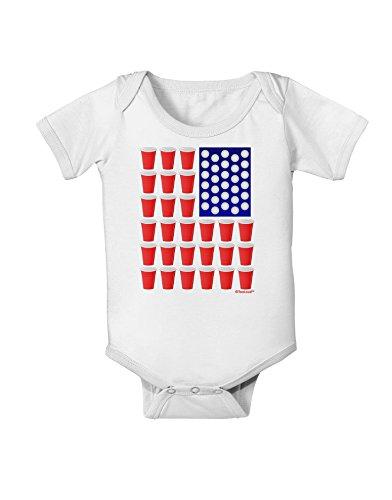 TooLoud Beer Pong Flag Baby Romper Bodysuit - White - 12 Months