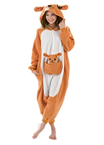 Emolly Fashion Adult Kangaroo Animal Onesie Costume Pajamas for Adults and Teens (Large, Kangaroo) Orange