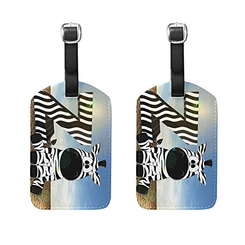 Set of 2 Luggage Tags Zebra Letter Suitcase Labels, used for sale  Delivered anywhere in USA