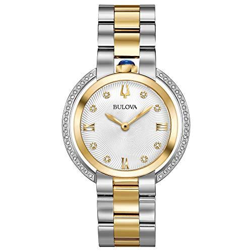 Ladies' Bulova Rubaiyat Diamond Two-Tone Yellow Gold Tone and Stainless Steel Watch 98R246